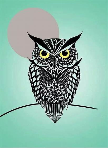 Owl Digital Mark Ashkenazi Geometric Tattoo Drawings