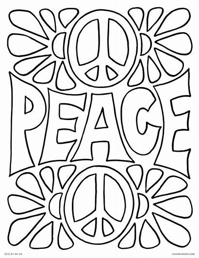 Coloring Pages Words Abstract Peace Flowers Background