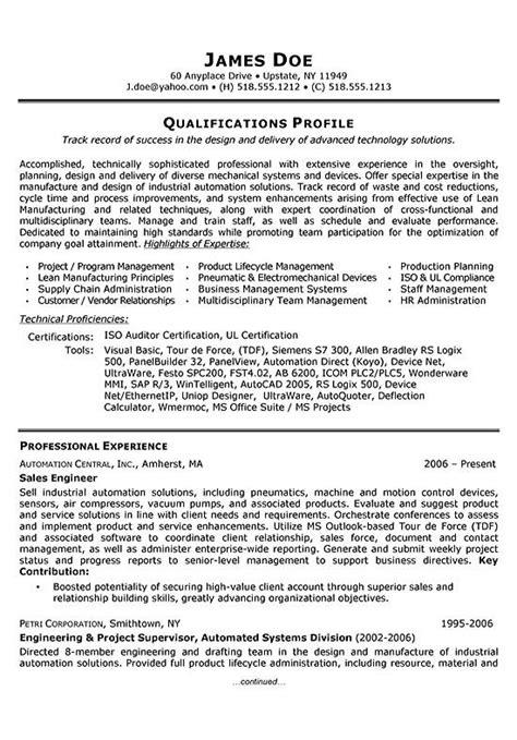sales engineer resume exle