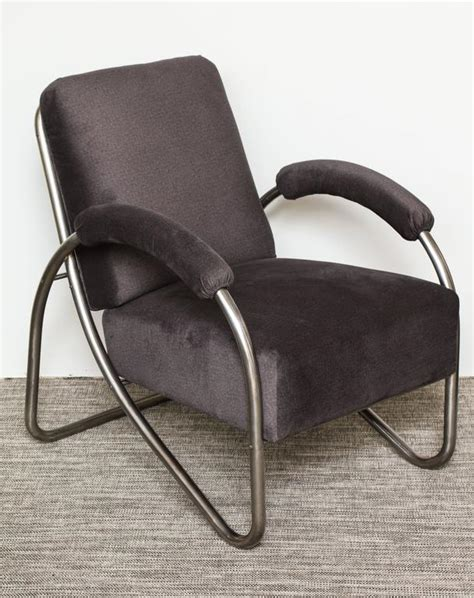 pair of deco bauhaus style tubular steel lounge chairs