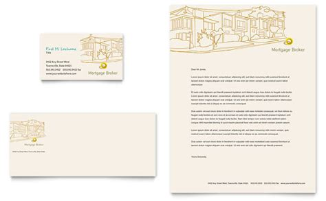 mortgage broker business card letterhead template design