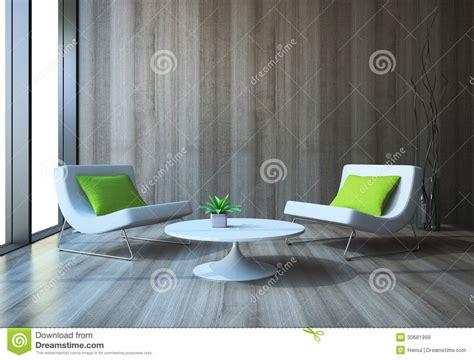 Interno Moderno Con Le Poltrone Ed Il Tavolino Da Salotto