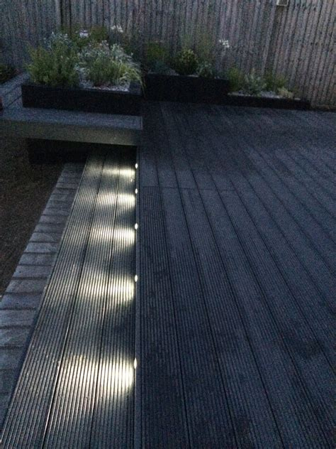 funky led garden lights composite decking  dark grey