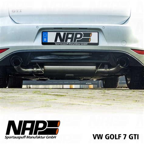 golf 7 gti klappenauspuff nap klappenauspuff vw golf vii gti nap sportauspuff manufaktur gmbh