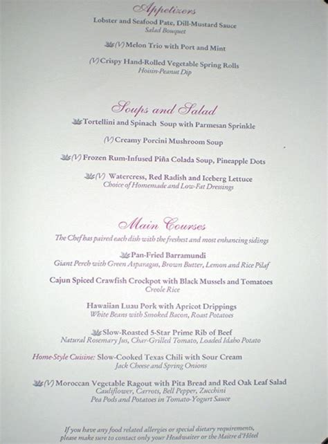 emerald princess menu   main dining rooms