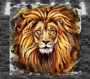 Stier Bilder Auf Leinwand : xxl l we gem lde auf leinwand 80x80cm design bild loft tier afrika ebay ~ Whattoseeinmadrid.com Haus und Dekorationen