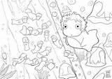 Ponyo Coloring Pages 塗り絵 Cool Sheets Miyazaki Deviantart Ghibli Studio Line イラスト Hayao Ari 無料 ディズニー 1024 Disney Popular Anime sketch template