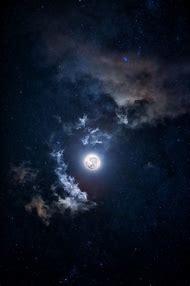 Blue Night Sky Moon and Stars