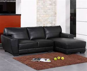 Modern black bonded leather sectional sofa from the soft for Rug under sectional sofa