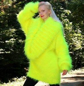 Hand knitted cowl neck mohair sweater in neon yellow