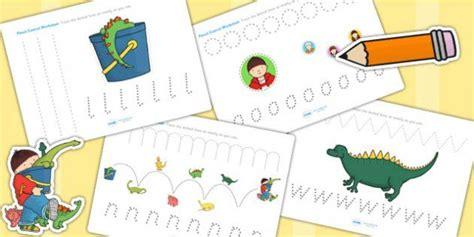 harry   bucketful  dinosaurs pencil control sheets