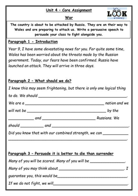 War Speech Writing  Ks3 English By Benkdavies  Teaching Resources