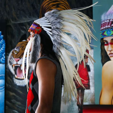 real feather white chief indian headdress cm native