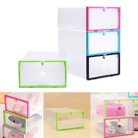 foldable stackable clear plastic drawer case organizer box holder shoe storage plastic drawers