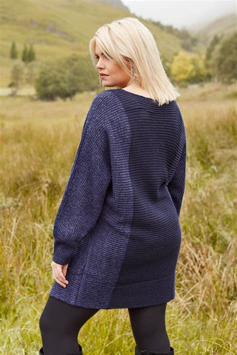 Granatowy Sweter Batwing, Duże Rozmiary 4464,yours Clothing