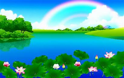 Cartoon Landscape Backgrounds Clipart Water Background Nature