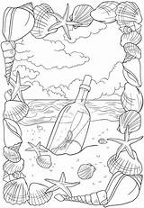 Coloring Message Bottle Stamping Beach sketch template