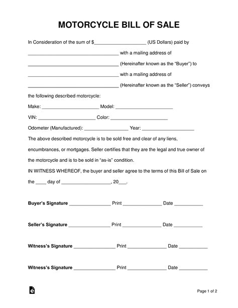 motorcycle bill  sale form  word eforms