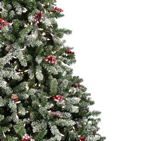 snow and berries christmas tree flocked hawthorne prelit tree lights etc