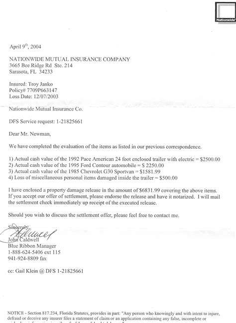Car Accident: Letter Car Accident Settlement Sample
