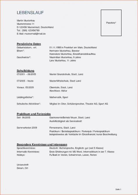 Muster Lebenslauf Word by Lebenslauf Muster Word Dokument Bewerbungsschreiben