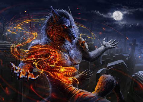 1366x768 Werewolf Vs Man Flame Night Skull 1366x768 ...