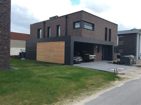 Moderne Häuser Mit Carport by Carport Mit Trespa Hpl Und L 228 Rchenholz Klinker Fassade