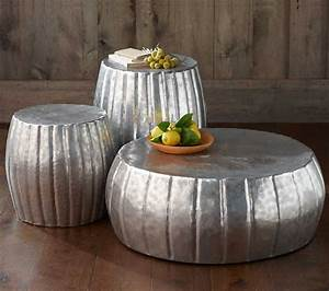 silver round hammered metal coffee table for living room With outdoor drum coffee table