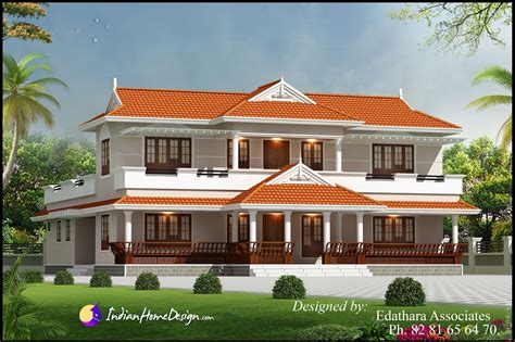 Villa Design Traditional Double Floor Kerala Home Indian
