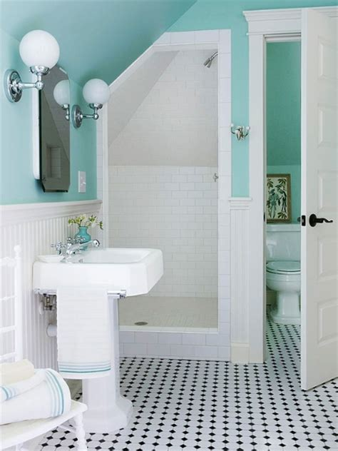 turquoise and white bathroom vintagetilefloor bath