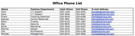 open table phone number telephone list template