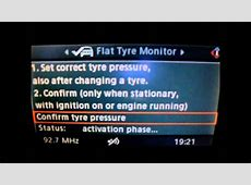 BMW E60 iDrive Flat Tyre Monitor Reset YouTube