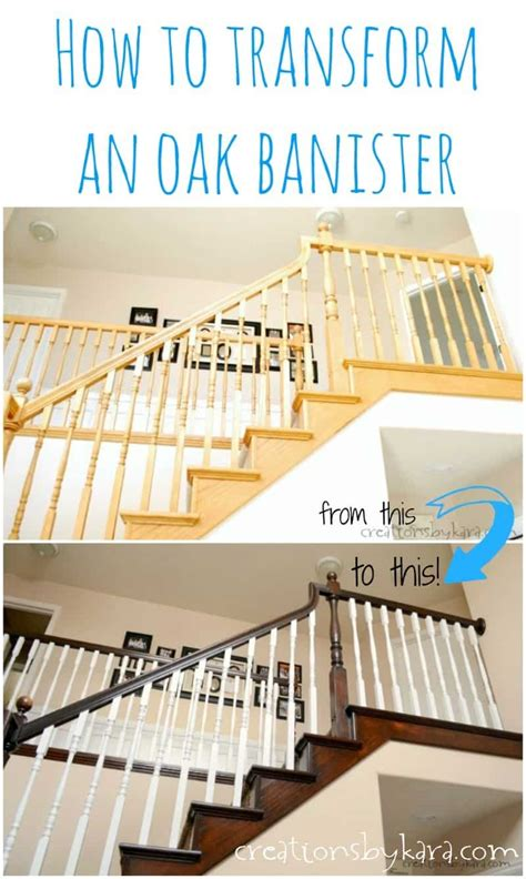 Restaining Banister by Diy Staircase Makeover With Stain And Paint