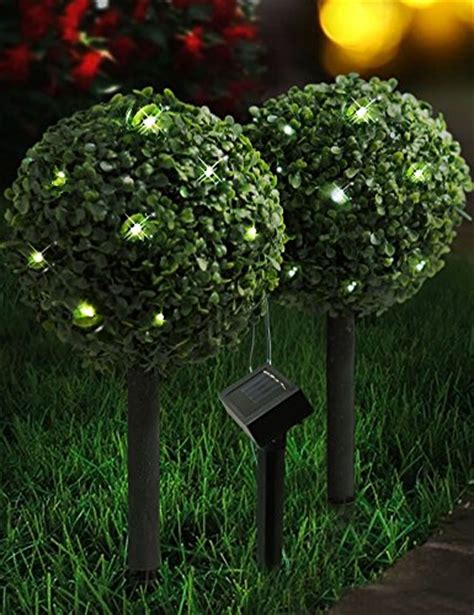 bright zeal set of 2 solar boxwood topiary