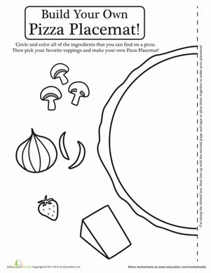pizza activity placemat worksheet education 361 | pizza activity placemat paper projects
