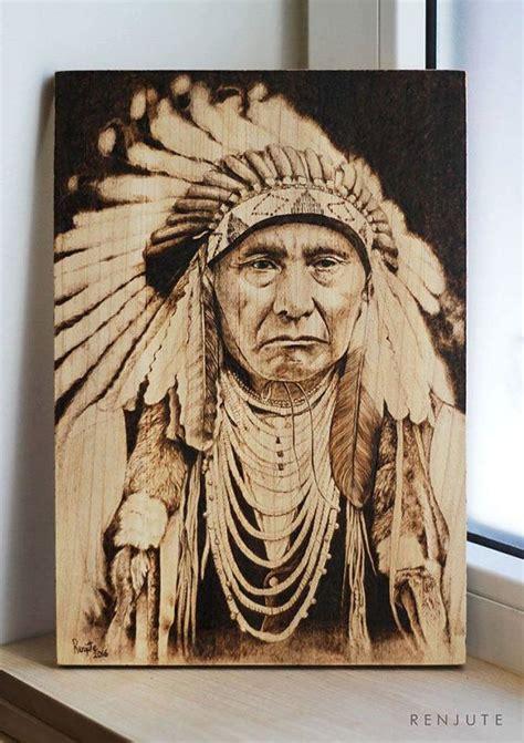 native american portrait pyrography woodburning