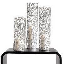 silver twig pillar candle holders