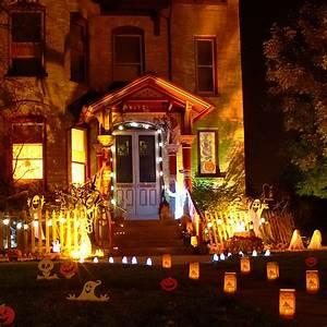 Outdoor Halloween Decorations With Nice Lighting Exteriors