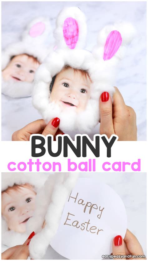cotton ball bunny craft diy easter card easy peasy  fun