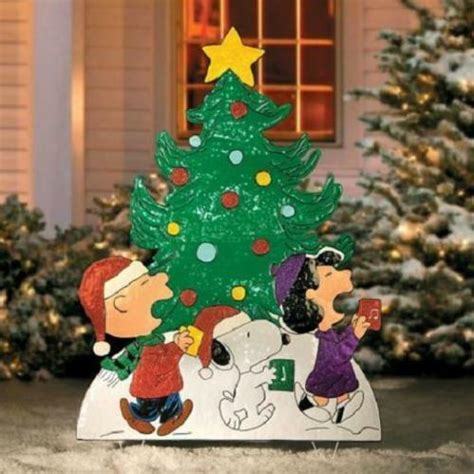 charlie brown gang outdoor 42 quot peanuts snoopy brown metal yard outdoor decor ebay