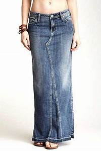 Dakota Love u0026 Haight Denim Maxi Skirt by True Religion on ...