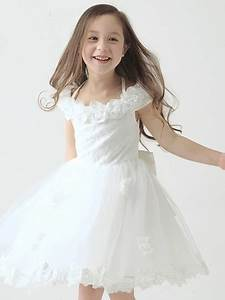 keyhole back appliques tulle wedding flower girl dress With robe blanche petite fille