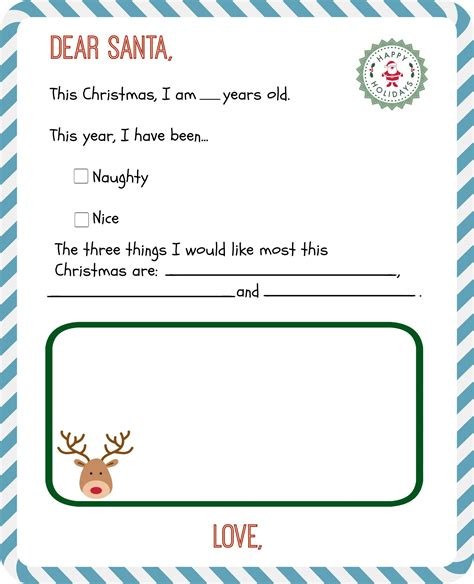 Dear Santa Template Kindergarten Letter by Free Printable Letter To Santa Templates And How To Get A