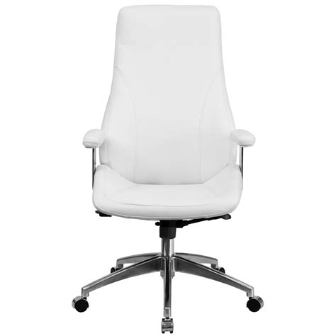 high back white leather executive swivel office chair bt