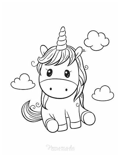 Unicorn Coloring Printable Adults Printables Easy Kawaii