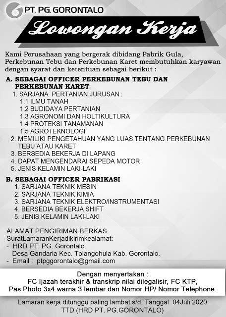 Lowongan kerja klaten april 2021 di pt pustaka insan madani. Lowongan Kerja PT Pabrik Gula Gorontalo Juli 2020 ...