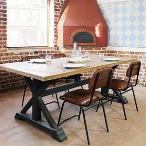 Table Bois Massif Metal : table de repas rectangulaire pied noir made in meubles ~ Teatrodelosmanantiales.com Idées de Décoration