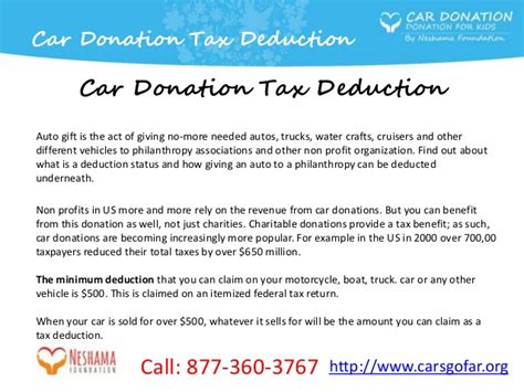 if i donate a car is it tax deductible car donation tax deduction