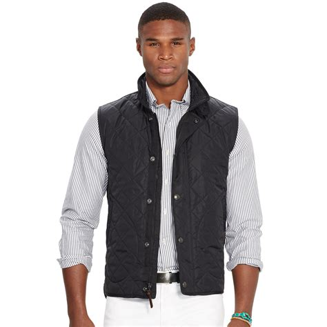 mens quilted vest lyst polo ralph quilted vest in black for