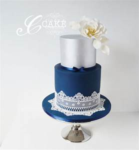 Navy And Silver Lace Wedding Cake Cake By